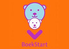 logo BoekStart in oranje vlak