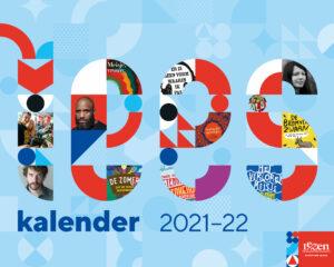 Cover Leeskalender 2021, met woord 'Lees' grafisch weergegeven.