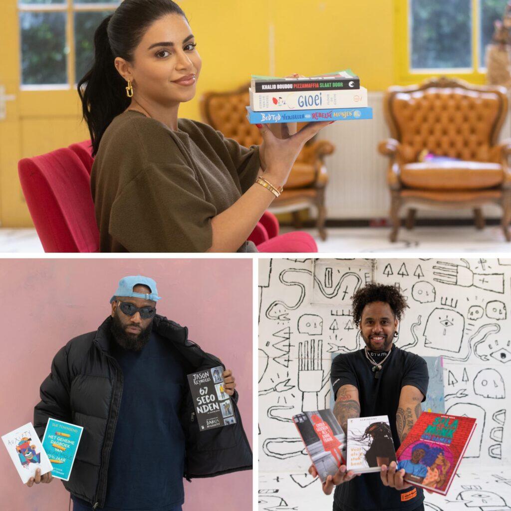 Compositie met boven Selma Omari, links Willie Wartaal en rechts Memru Renjaan met de boeken die ze gaan lezen.